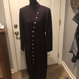 Vintage long black dress with buttons